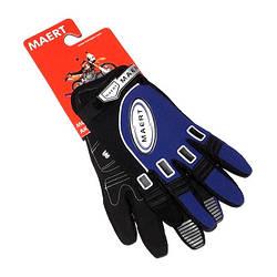 Рукавички MAERT мото-вело з пальцями Сині L