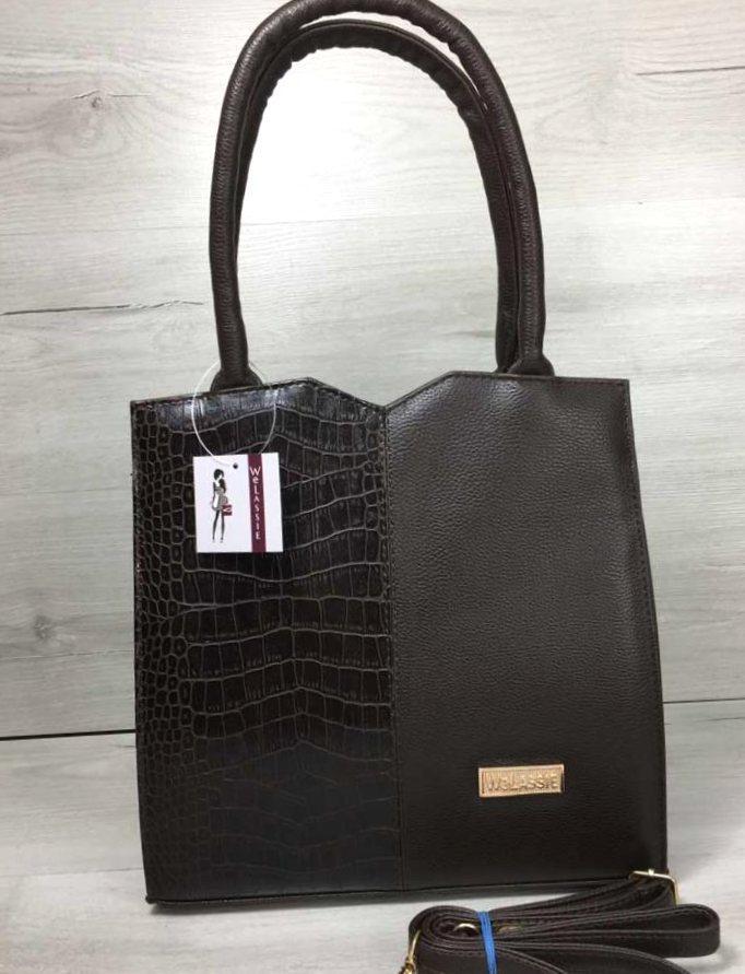 Стильная женская сумка Aliri-20017 коричневая с вставкой под кожу крокодила