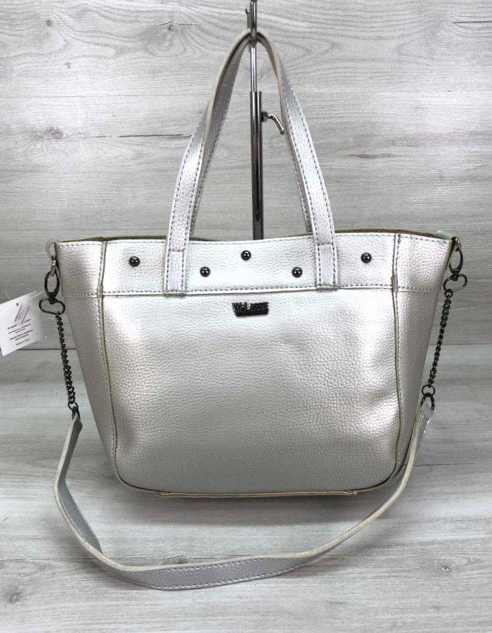 Вместительная женская сумка Aliri-20166 серебристая