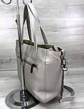 Вместительная женская сумка Aliri-20166 серебристая, фото 2