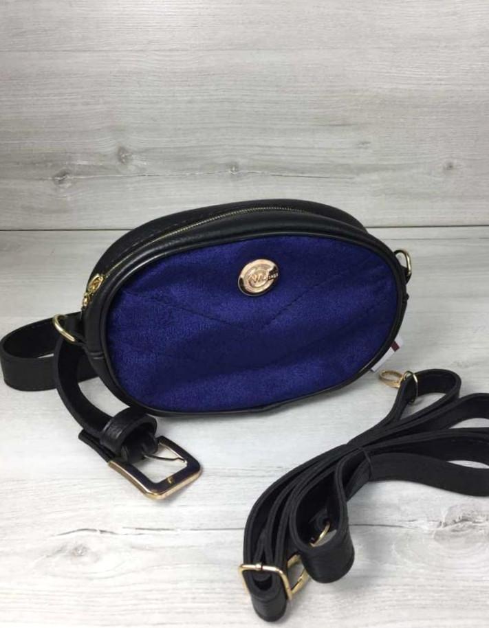 Жіноча молодіжна сумка на пояс чорного кольору з синім Aliri-20505 синій