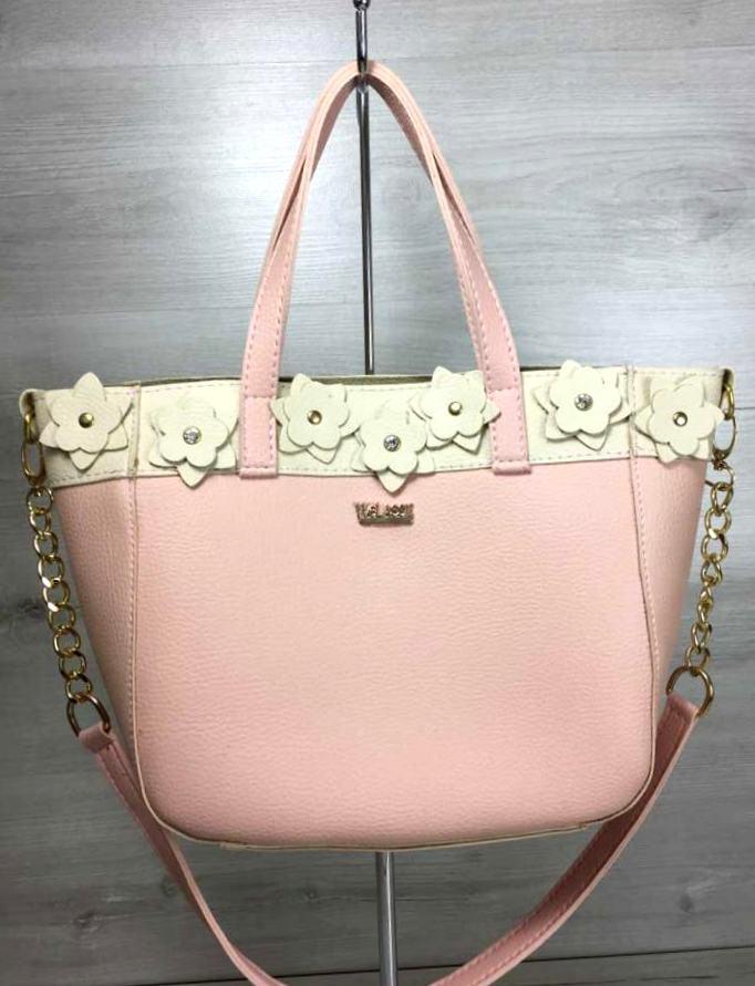 Жіноча сумка шопер з квіточками Aliri-20005 мерехтливої кольору з бежевим