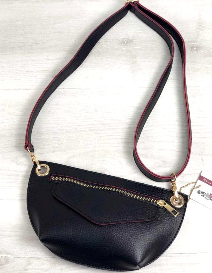 Модная женская сумка кросбоди сумка на пояс клатч Aliri-20534 черного с красным цвета