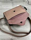 Стильная кожаная женская поясная сумка на пояс Aliri-20628 сумка пудрового цвета, фото 2