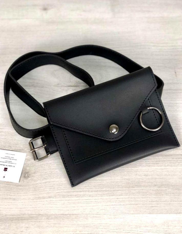 Молодежная женская поясная сумка клатч с кольцом Aliri-20552 черного цвета