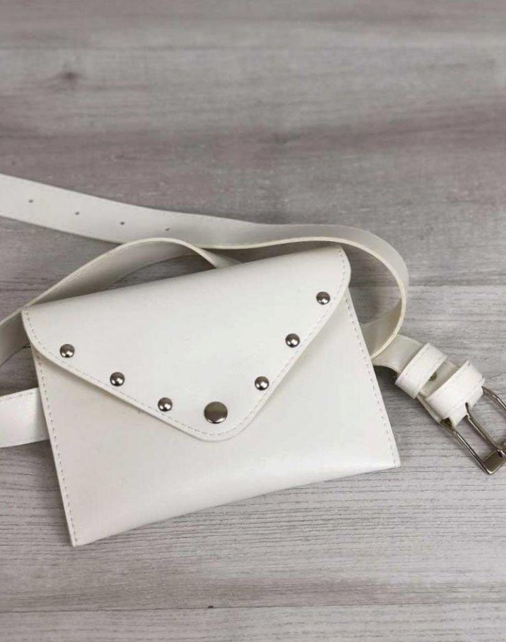 Женская модная сумка на пояс поясная сумка клатч Aliri-20555 белая