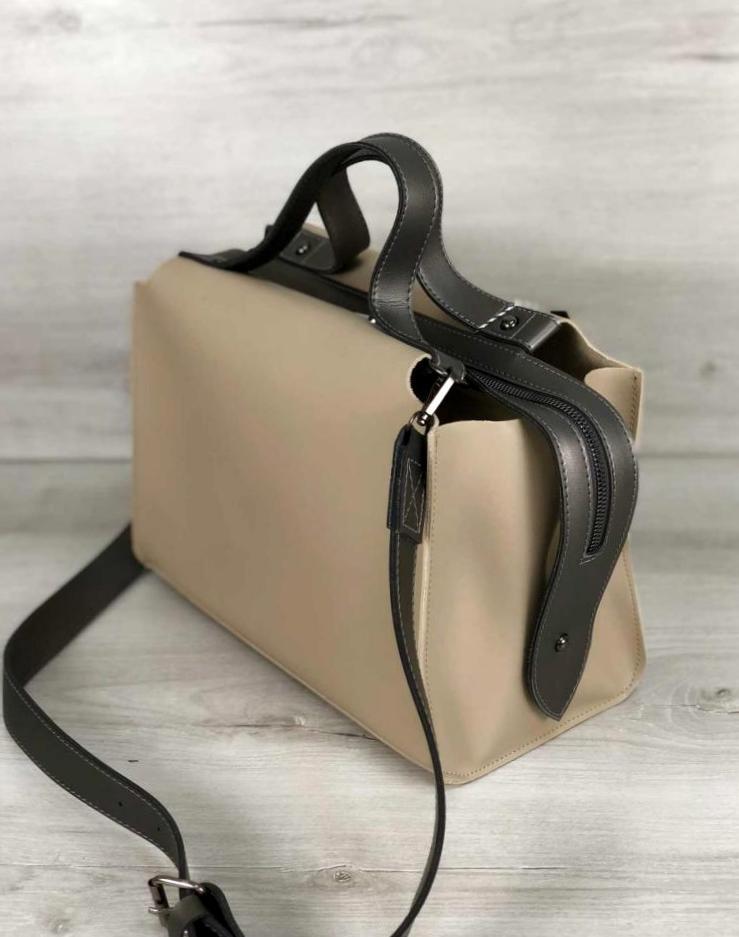 Молодіжна жіноча сумка 2в1 з косметичкою Aliri-20206 кремова з чорним
