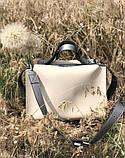 Молодіжна жіноча сумка 2в1 з косметичкою Aliri-20206 кремова з чорним, фото 5