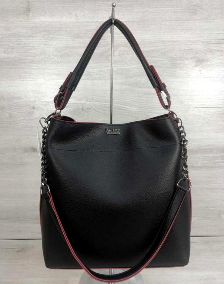 Стильна жіноча сумка з ремінцем ланцюжком Aliri-20216 чорна з червоним