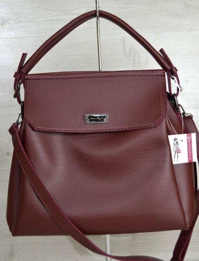 Класична сумка на три відділення Aliri-20218 жіноча сумка бордова