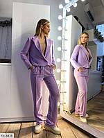 Прогулянковий костюм жіночий стильний укорочений піджак і вільні штани на резинці р-ри 42-48 арт. 2182, фото 1