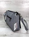 Молодіжна сумка-клатч з ланцюжком сумочка зміїна шкіра Aliri-20395 сероголубого кольору, фото 2