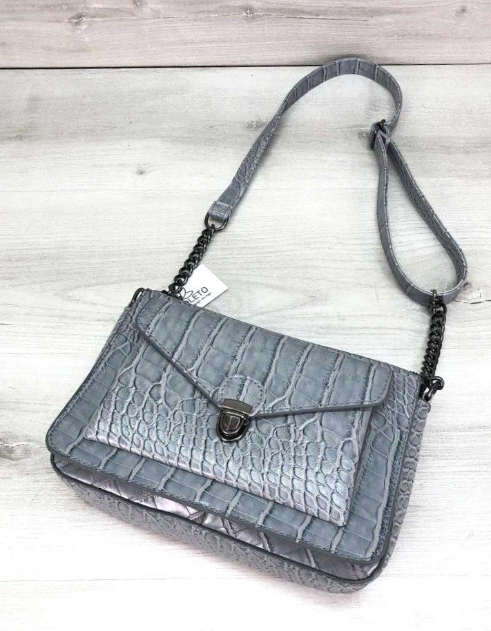 Молодежная стильная женская сумочка под кожу змеи  Aliri-20398 серо-голубая