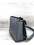 Молодежная стильная женская сумочка под кожу змеи  Aliri-20398 серо-голубая, фото 4