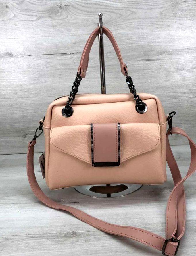 Стильная молодежная женская сумка клатч Aliri-20238 пудрового цвета