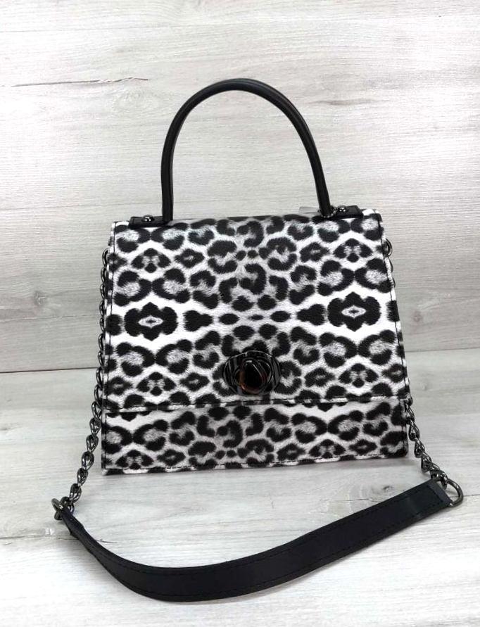 Жіноча сумка з плечовим ремінцем під шкіру гепарда Aliri-20254 чорно-біла