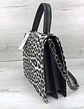 Жіноча сумка з плечовим ремінцем під шкіру гепарда Aliri-20254 чорно-біла, фото 2