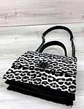 Жіноча сумка з плечовим ремінцем під шкіру гепарда Aliri-20254 чорно-біла, фото 4