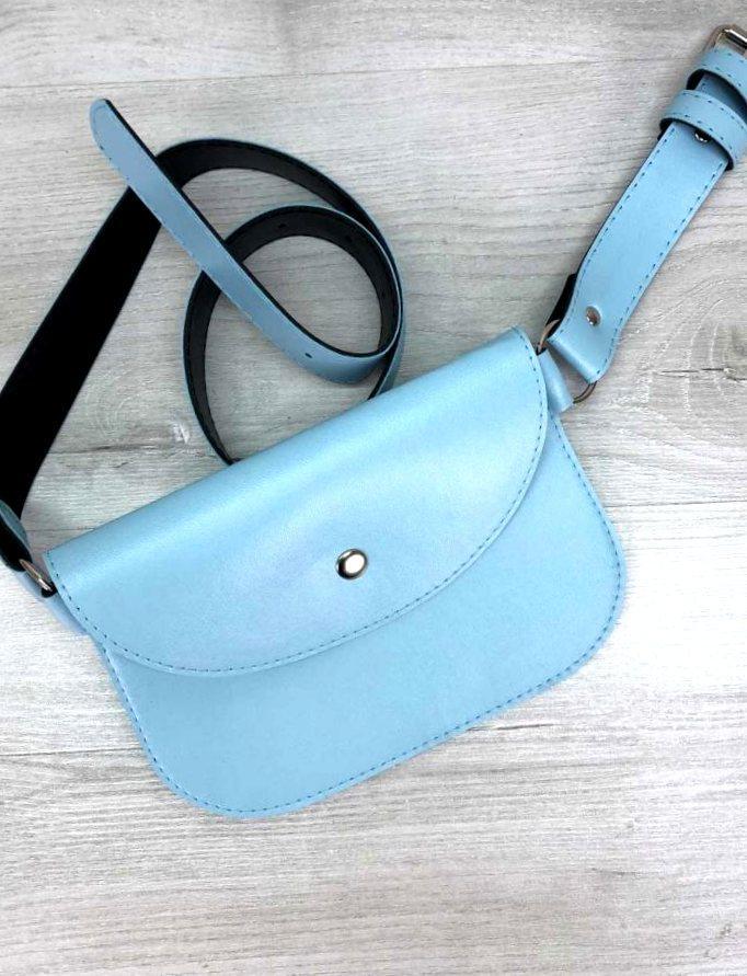Женская молодежная поясная сумка кроссбоди стильная женская сумка на пояс Aliri-20572 голубая
