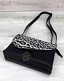 Класна сумочка клатч з леопардовим принтом Aliri-20400 чорний, фото 3