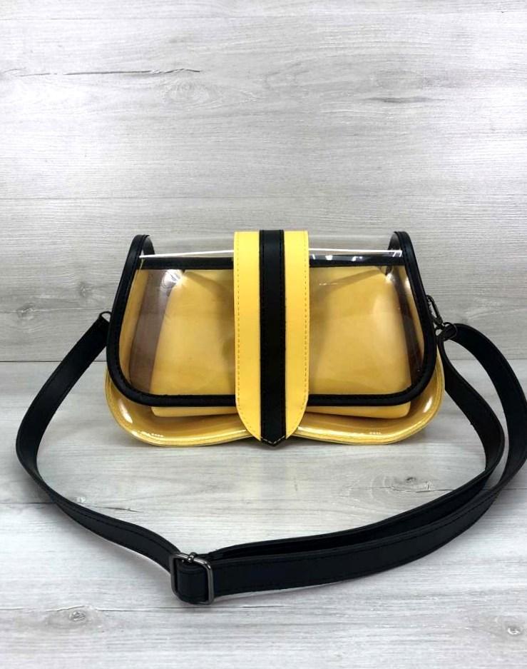 Женская прозрачная сумка клатч 2 в 1 прозрачная сумочка Aliri-20409 желтая
