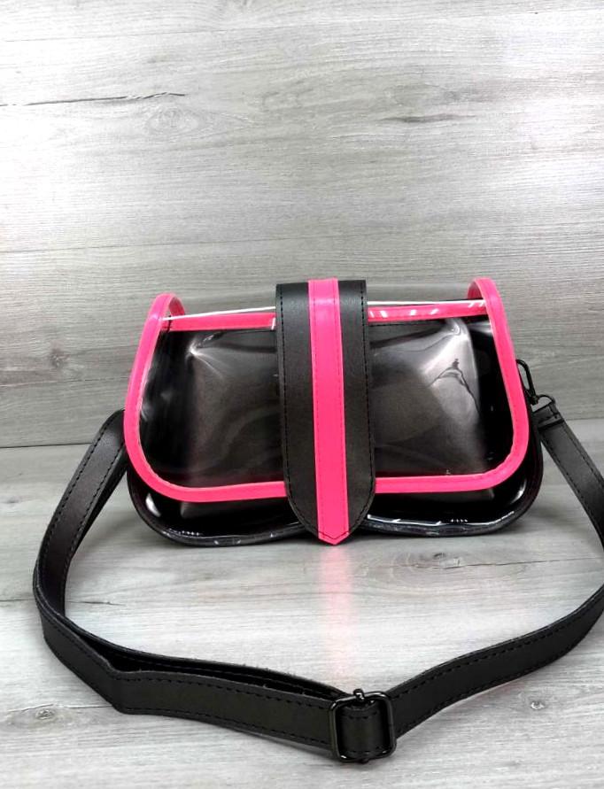 Жіноча прозора сумка клатч з косметичкою 2 в 1 Aliri-20410 малинова з чорним