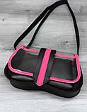 Жіноча прозора сумка клатч з косметичкою 2 в 1 Aliri-20410 малинова з чорним, фото 4