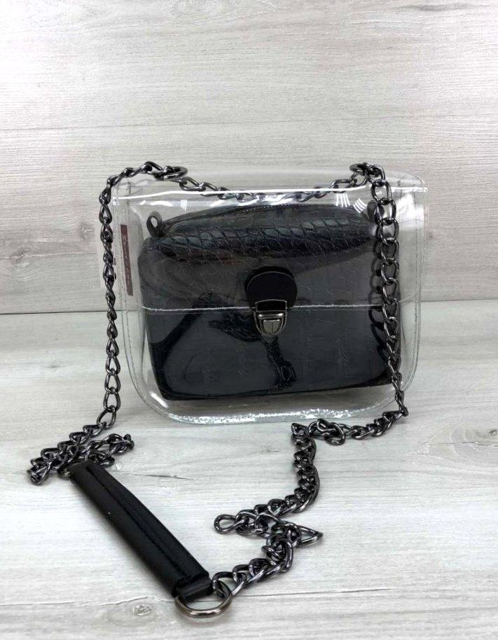 Стильна прозора силіконова сумка з косметичкою Aliri-20418 чорний крокодил