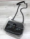 Стильна прозора силіконова сумка з косметичкою Aliri-20418 чорний крокодил, фото 3