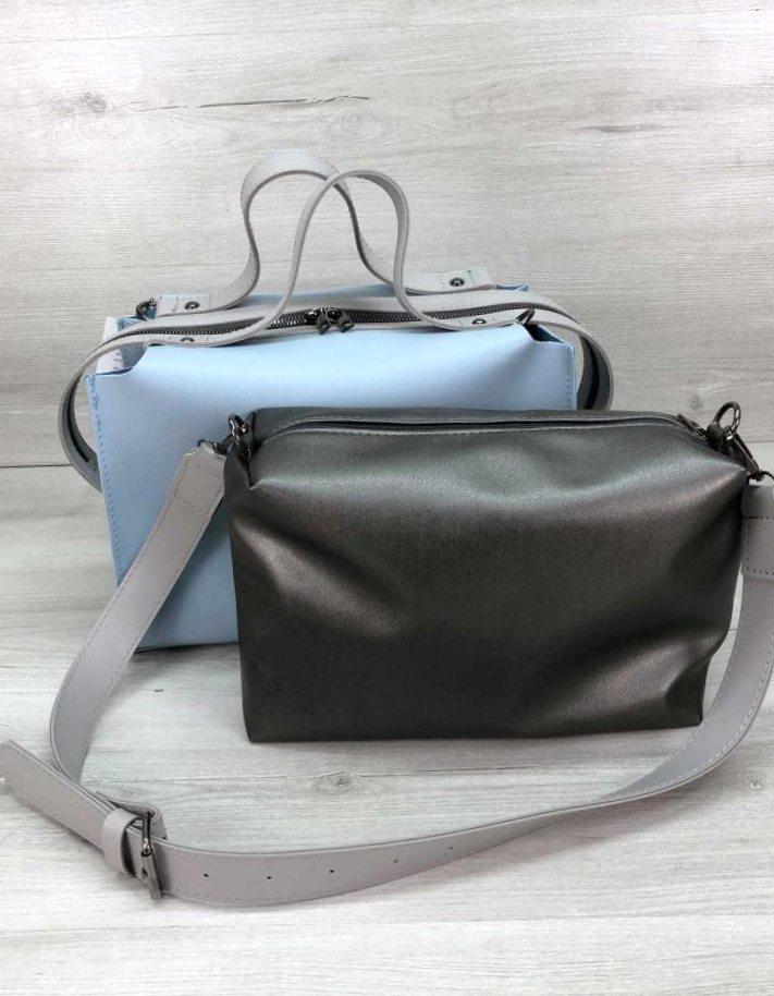 Якісна жіноча сумка з косметичкою 2в1 Aliri-блакитна 20265