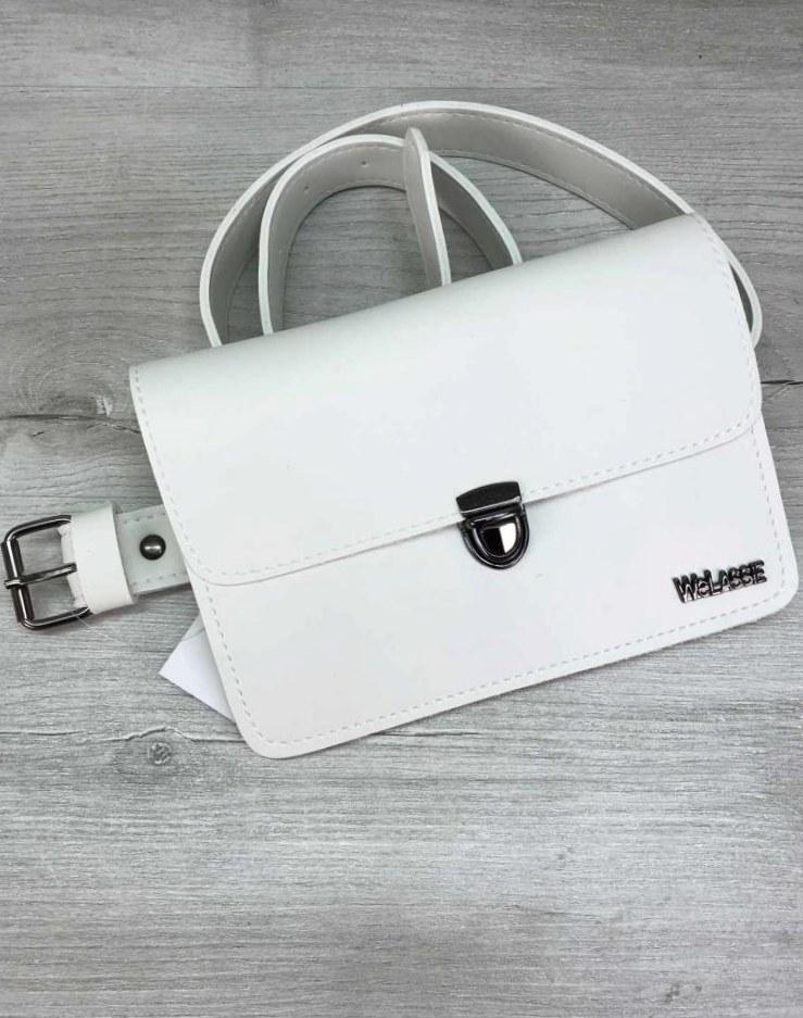 Модна стильна жіноча сумка на пояс клатч Aliri-20601 білого кольору
