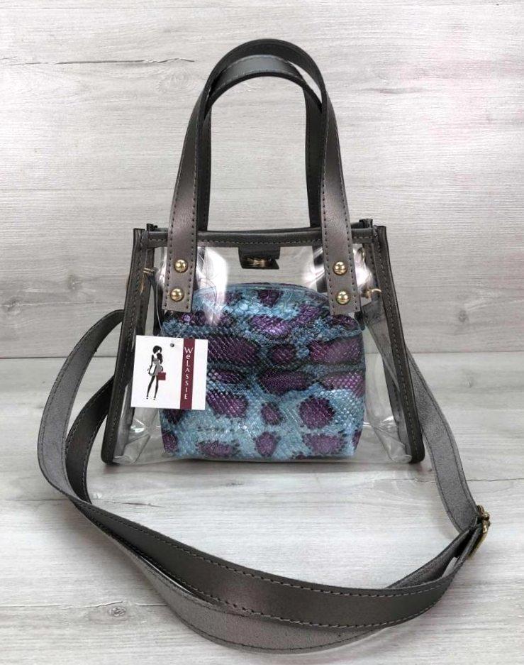 Компактная женская прозрачная сумка с косметичкой змеиная кожа Aliri-20274
