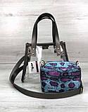 Компактная женская прозрачная сумка с косметичкой змеиная кожа Aliri-20274, фото 2
