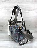 Компактная женская прозрачная сумка с косметичкой змеиная кожа Aliri-20274, фото 3