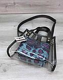 Компактная женская прозрачная сумка с косметичкой змеиная кожа Aliri-20274, фото 4