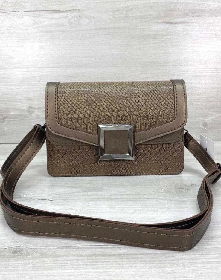 Женская стильная сумка клатч модная сумочка кожа змеи Aliri-20434 кофейная