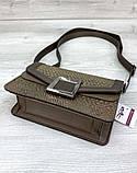 Женская стильная сумка клатч модная сумочка кожа змеи Aliri-20434 кофейная, фото 2