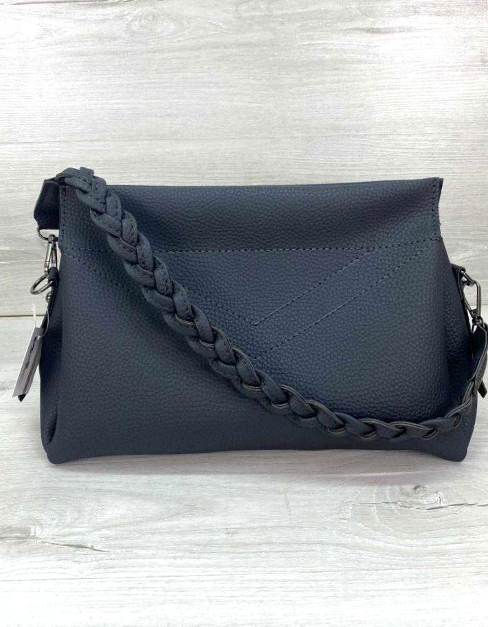 Жіноча стильна містка сумка Aliri-20307 темно сіра