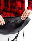 Містка жіноча поясна сумка бананка Aliri-614-04 чорного кольору, фото 5