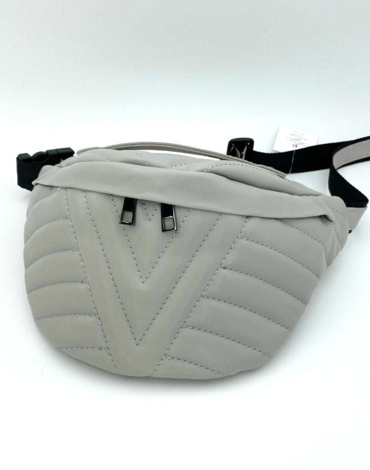 Жіноча модна поясна сумка бананка екокожа Aliri-20622 сіра