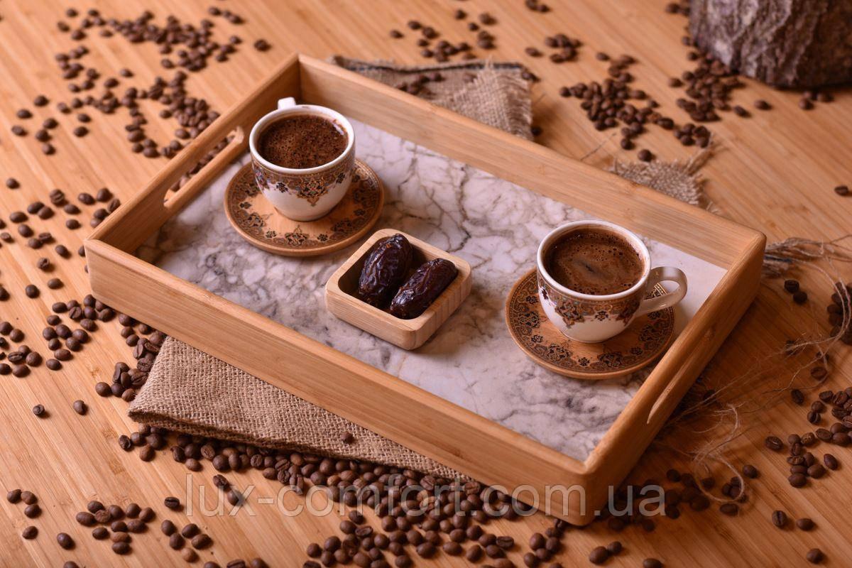 Піднос з бамбука 34х22,5х4,5 см білий (Туреччина) OMS 9101-S-White