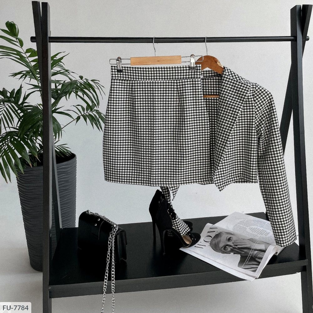 Стильный костюм женский юбочный короткая мини юбка с коротким укороченным пиджаком р-ры 42-46 арт. 1227