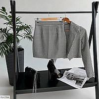 Стильный костюм женский юбочный короткая мини юбка с коротким укороченным пиджаком р-ры 42-46 арт. 1227, фото 1