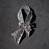 """Брошка Анна Ясеницька  """"Блиск"""", сріблястий, чорний, фото 2"""