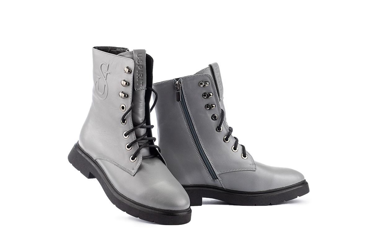 Женские ботинки кожаные зимние серые U Spirit 5024