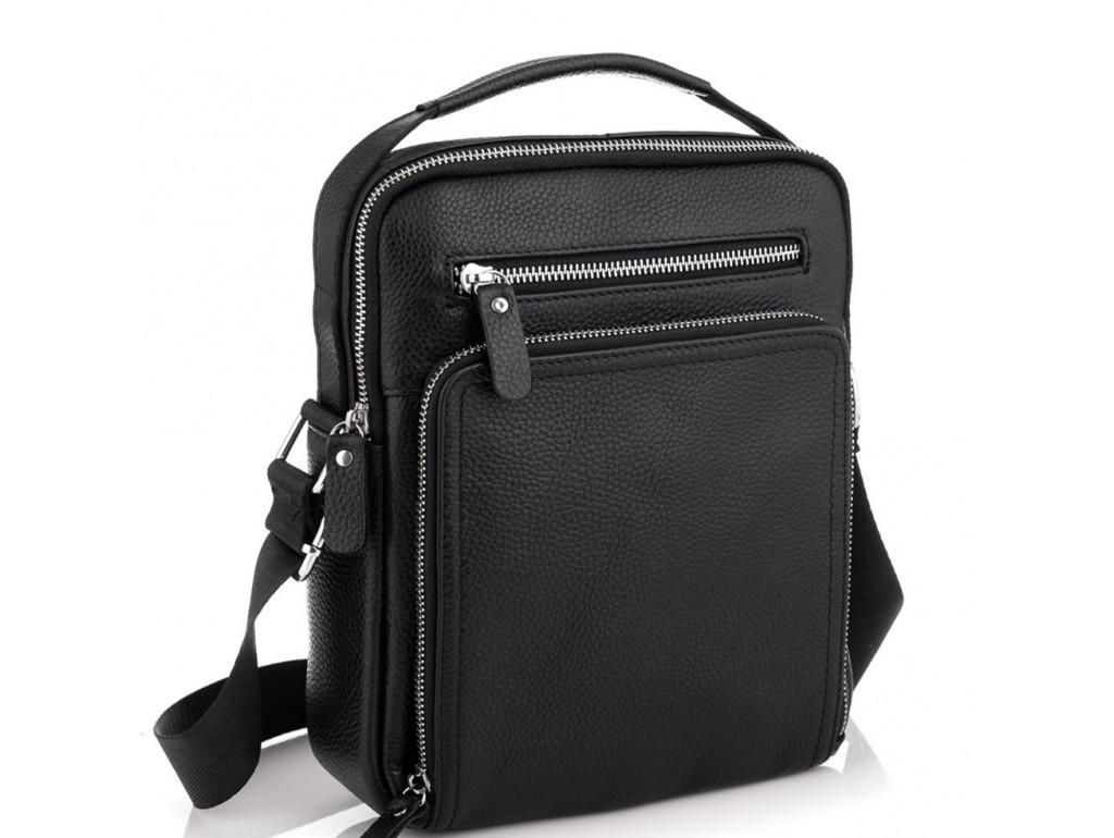 Чоловіча шкіряна сумка месенджер Tiding Bag чорного кольору.Сумка через плече мужска шкіряна.