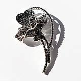 """Брошь Анна Ясеницька """"Цветок"""", серебристый, черный, фото 3"""