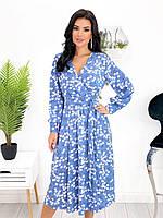 Жіночне плаття міді на довгий рукав з поясом, фото 1