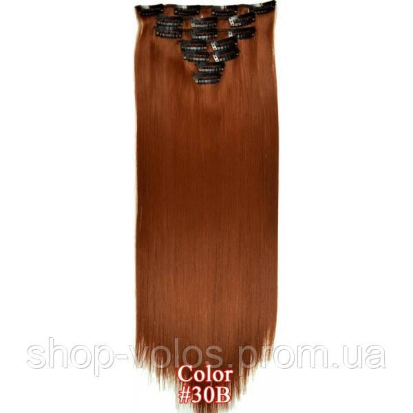 Накладне волосся на заколках термо Набір тресс 7 шт № 30B темно-бордовий