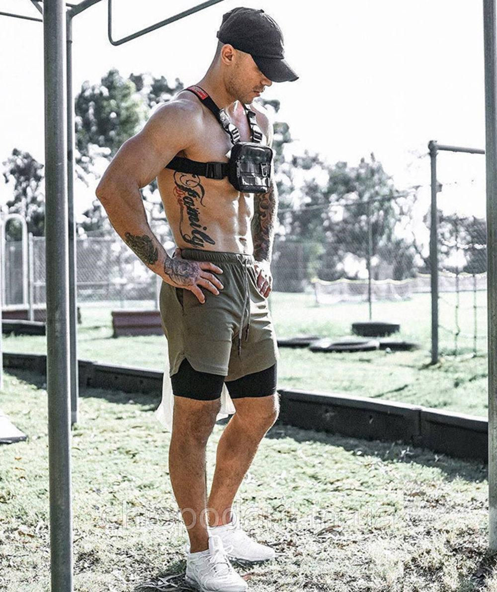 Спортивные шорты с карманом для телефона, мужские шорты-тайтсы олива с черными тайтсами размер M 25-0012
